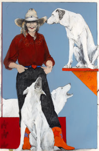 DONNA HOWELL-SICKLES (American, b. 1949) Cowgirl with Dogs Mixed media 59 x 39 inches (149.9 x 99