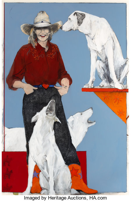 DONNA HOWELL-SICKLES (American, b. 1949) Cowgirl with Dogs Mixed media 59 x 39 inches (149.9 x 99.1 cm) ...