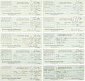 Football Collectibles:Others, 1940 Bert Bell Signed Payroll Checks Lot of 10....