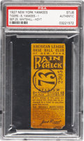 Baseball Collectibles:Tickets, 1927 New York Yankees vs. Detroit Tigers Ticket Stub....