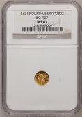 California Fractional Gold: , 1853 50C Liberty Round 50 Cents, BG-429, Low R.4, MS63 NGC. NGCCensus: (1/2). PCGS Population (7/2). (#10465)...
