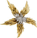 Estate Jewelry:Brooches - Pins, Diamond, Gold Clip-Brooch, Schlumberger, Tiffany & Co.. ...