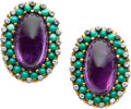 Estate Jewelry:Bracelets, Amethyst, Diamond, Turquoise, Gold Earrings, French. ...