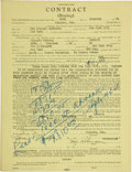 Boxing Collectibles:Autographs, 1944 Sugar Ray Robinson Signed Fight Contract & More....