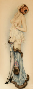Paintings, ALBERTO VARGAS (American, 1896-1982). Reverie, c. 1923. Watercolor on paper. 27 x 10.5 in.. Signed center left. ...
