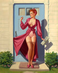 Pin-up and Glamour Art, ART FRAHM (American, 1906-1981). Caught in the Door. Oil oncanvas. 35 x 28 in.. Signed lower right. ...