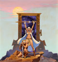 Pulp, Pulp-like, Digests, and Paperback Art, MICHAEL WHELAN (American, b. 1950). Gate of Ivrel, paperbackcover, 1976. Acrylic on board. 18 x 17 in.. Monogrammed low...