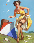 Pin-up and Glamour Art, GIL ELVGREN (American, 1914-1980). The Final Touch (Keep 'EmFlying), 1954. Oil on canvas. 30 x 24 in.. Signed lower lef...