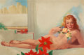 Pin-up and Glamour Art, TED WITHERS (American, 1896-1964). Female Nude with Flowers.Oil on canvas. 25 x 38.5 in.. Signed lower right. ...
