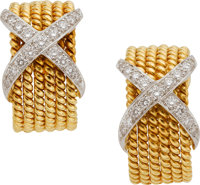 Diamond, Platinum, Gold Earrings, Schlumberger, Tiffany & Co