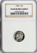 Proof Roosevelt Dimes: , 1964 10C PR69 Ultra Cameo NGC. NGC Census: (146/0). PCGS Population(263/2). Numismedia Wsl. Price for problem free NGC/PC...