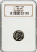 Proof Roosevelt Dimes: , 1955 10C PR69 NGC. NGC Census: (59/0). PCGS Population (1/0).Mintage: 378,200. Numismedia Wsl. Price for problem free NGC/...