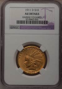 1911-D $10 --Harshly Cleaned--NGC Details. AU. NGC Census: (44/538). PCGS Population (57/379). Mintage: 30,100. Numismed...