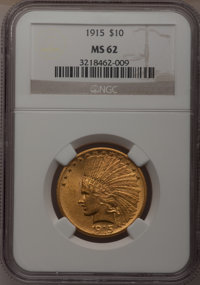 1915 $10 MS62 NGC. NGC Census: (858/784). PCGS Population (793/707). Mintage: 351,075. Numismedia Wsl. Price for problem...