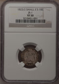 Bust Dimes: , 1823/2 10C Small Es VF30 NGC. JR-1. NGC Census: (1/76). PCGSPopulation (2/59). Mintage: 440,000. Numismedia Wsl. Price fo...