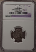 Bust Dimes: , 1827 10C --Improperly Cleaned--NGC Details. XF. JR-13. NGC Census:(7/221). PCGS Population (18/211). Mintage: 1,300,000. N...