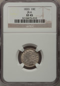 Bust Dimes: , 1833 10C XF45 NGC. JR-6. NGC Census: (7/227). PCGS Population(38/188). Mintage: 485,000. Numismedia Wsl. Price for proble...
