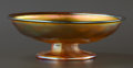 Art Glass:Tiffany , AN AMERICAN ART GLASS COMPOTE . Attributed to Tiffany Studios,Corona, New York, circa 1900. Unmarked. 2-1/8 x 6 inches diam...