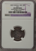 Bust Dimes: , 1829 10C Small 10C--Improperly Cleaned--NGC Details. AU. JR-7. NGCCensus: (3/209). PCGS Population (11/163). Mintage: 770...