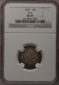 Bust Dimes: , 1825 10C XF45 NGC. JR-4. NGC Census: (4/75). PCGS Population(3/57). Mintage: 410,000. Numismedia Wsl. Price for problem f...