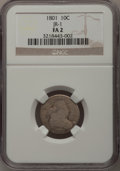 Early Dimes: , 1801 10C Fair 2 NGC. JR-1. NGC Census: (3/28). PCGS Population(1/48). Mintage: 34,640. Numismedia Wsl. Price for problem ...