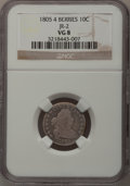 Early Dimes: , 1805 10C 4 Berries VG8 NGC. JR-2. NGC Census: (6/225). PCGSPopulation (11/273). Mintage: 120,780. Numismedia Wsl. Price f...