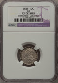 Bust Dimes: , 1835 10C --Improperly Cleaned--NGC Details. XF. JR-9. NGC Census:(11/385). PCGS Population (32/335). Mintage: 1,410,000. N...