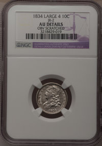 1834 10C Large 4--Obv Scratched--NGC Details. AU. JR-2. NGC Census: (0/0). PCGS Population (15/70). (#4526) From The...