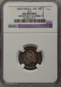 Bust Dimes: , 1829 10C Small 10C--Improperly Cleaned--NGC Details. AU. JR-5. NGCCensus: (3/209). PCGS Population (11/163). Mintage: 770...