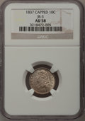 Bust Dimes: , 1837 10C AU58 NGC. JR-3. NGC Census: (14/84). PCGS Population(12/48). Mintage: 359,500. Numismedia Wsl. Price for problem...