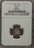 Bust Dimes: , 1832 10C XF40 NGC. JR-6. NGC Census: (4/228). PCGS Population(17/236). Mintage: 522,500. Numismedia Wsl. Price for proble...