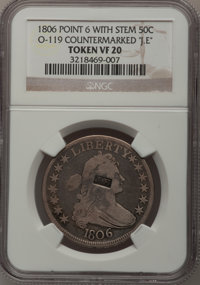 """1806 50C Pointed 6, Stem--Countermarked """"J.E""""--VF20 NGC. O-119. NGC Census: (58/1121). PCGS Population (70/639..."""