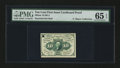 Fractional Currency:First Issue, Milton 1E10F.2 10¢ First Issue Cardboard Proof PMG Gem Uncirculated65 EPQ....