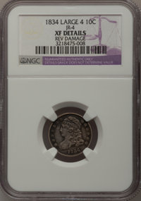 1834 10C Large 4--Rev Damage--NGC Details. XF. JR-4. NGC Census: (0/0). PCGS Population (13/102). (#4526) From The Do...
