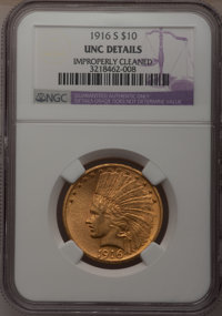 1916-S $10 --Improperly Cleaned--NGC Details. Unc. NGC Census: (29/338). PCGS Population (24/382). Mintage: 138,500. Num...