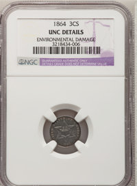 1864 3CS --Environmental Damage--NGC Details. Unc. NGC Census: (0/79). PCGS Population (1/84). Mintage: 12,000. Numismed...