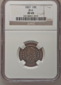 Bust Dimes: , 1827 10C XF45 NGC. JR-6. NGC Census: (11/210). PCGS Population(13/198). Mintage: 1,300,000. Numismedia Wsl. Price for pro...