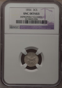 1856 3CS --Improperly Cleaned--NGC Details. Unc. NGC Census: (0/207). PCGS Population (10/212). Mintage: 1,458,000. Numi...
