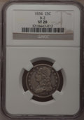 Bust Quarters: , 1834 25C VF20 NGC. B-2. NGC Census: (6/365). PCGS Population (15/473). Mintage: 286,000. Numismedia Wsl. Price for problem...