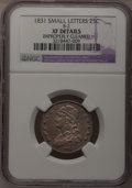 Bust Quarters: , 1831 25C Small Letters--Improperly Cleaned--NGC Details. XF. B-2. NGC Census: (16/392). PCGS Population (20/350). Mintage:...