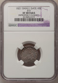 Bust Dimes: , 1821 10C Small Date--Improperly Cleaned--NGC Details. XF. JR-8. NGCCensus: (1/35). PCGS Population (4/28). Numismedia Ws...