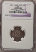 Bust Dimes: , 1821 10C Large Date--Improperly Cleaned--NGC Details. AU. JR-6. NGCCensus: (9/154). PCGS Population (14/115). Mintage: 1,...
