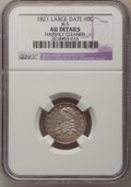 Bust Dimes: , 1821 10C Large Date--Harshly Cleaned--NGC Details. AU. JR-5. NGCCensus: (9/154). PCGS Population (14/115). Mintage: 1,186...