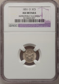 1851-O 3CS --Improperly Cleaned--NGC Details. AU. NGC Census: (4/365). PCGS Population (10/379). Mintage: 720,000. Numis...