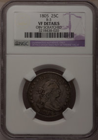 1805 25C --Obv Scratched--NGC Details. VF. B-3. NGC Census: (9/116). PCGS Population (15/166). Mintage: 121,394. Numisme...