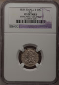 Bust Dimes: , 1834 10C Small 4--Improperly Cleaned--NGC Details. VF. JR-7. NGCCensus: (2/258). PCGS Population (0/176). Mintage: 635,00...