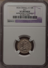 1834 10C Small 4--Improperly Cleaned--NGC Details. VF. JR-7. NGC Census: (2/258). PCGS Population (0/176). Mintage: 635...