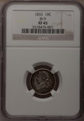 Bust Dimes: , 1833 10C XF45 NGC. JR-9. NGC Census: (7/227). PCGS Population(38/188). Mintage: 485,000. Numismedia Wsl. Price for proble...