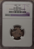 Early Dimes: , 1802 10C --Bent, Scratched, Damaged--NGC Details. AG. JR-2. NGCCensus: (1/26). PCGS Population (2/38). Mintage: 10,975. Nu...