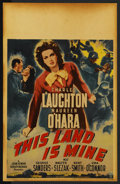 "Movie Posters:War, This Land Is Mine (RKO, 1943). Window Card (14"" X 22""). ..."